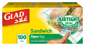 Glad Zipper Sandwich Bag 100s