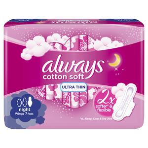 Always Cotton Soft Ultra Thin Night Sanitary Pads 7pcs