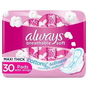 Always Breathable Soft Maxi Thick Large Sanitary Pads With Wings 30pcs
