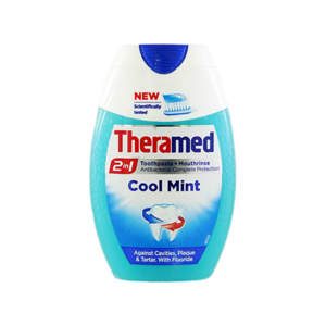 Theramed 2 In1 Cool Mint Fluoride Toothpaste And Antibacterial Mouthwash 75ml
