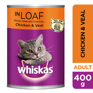 Whiskas Chicken & Veal in Loaf Wet Cat Food Can 400g
