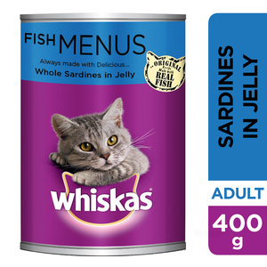 Whiskas Whole Sardines in Jelly Wet Cat Food Can 400g