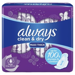 Always Dry And Comfort Sanitary Pads Large 30pcs
