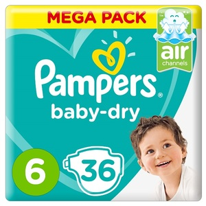 Pampers Baby-Dry Diapers Size 6 Extra Large 13+Kg Mega Pack 36 Count 36 pcs