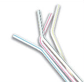 Fun Flexible Straw White Striped 100s
