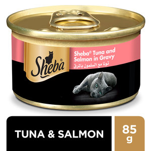Sheba Flaked Tuna Topped with Salmon Wet Cat Food Can 85g
