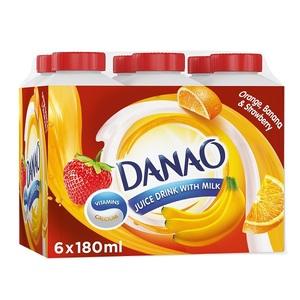 Danao Orange-Banana & Strawberry Juice Drink With Milk 6x180ml