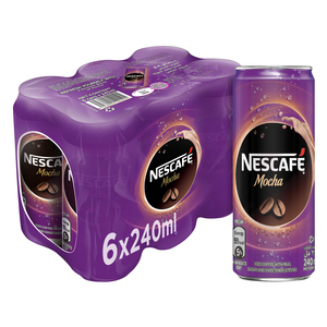 Nescafe Ready To Drink Mocha Chilled Coffee Can 6x240ml