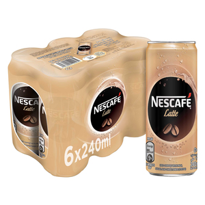 Nescafe Ready To Drink Latte Chilled Coffee Can 6x240ml