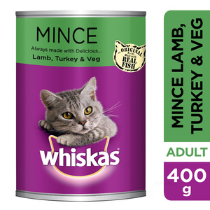 Whiskas Mince Lamb Turkey & Veg Cat Food Can 400g