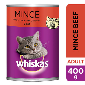 Whiskas Mince Beef Gravy 1+ Years Cat Food Pouch 400g