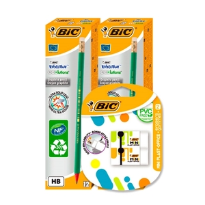 Bic Evolution HB Graphite Pencil + Bic 2 Mini Plast-Office Erasers (12x2)+ 2