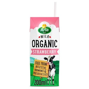 Arla Organic Milk Strawberry 200ml