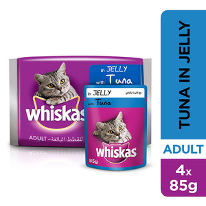 Whiskas In Jelly With Tuna Wet Cat Food Junior Up To 1 Year Pouch 4x85g