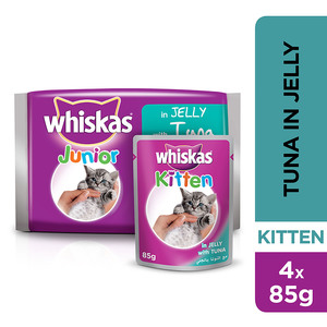 Whiskas In Jelly with Tuna Wet Cat Food Kitten Up to 1 year Pouch 4x85g