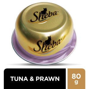 Sheba Dome Prime Cuts of Tuna and Prawn Wet Cat Food Can 6x80g