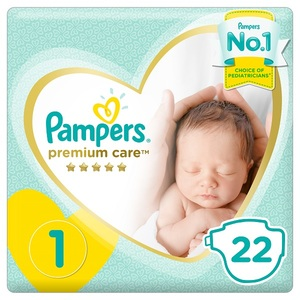 Pampers Premium Care Diapers Size 1 Newborn 2-5 Kg Carry Pack 22 pcs