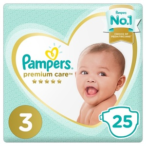 Pampers Premium Care Diapers Size 3 Midi 6-10 Kg Mid Pack 25 pcs