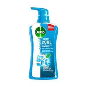 Dettol Instant Cool Menthol & Eucalyptus Liquid Antibacterial Body Wash for 100% Better Germ Protection & Personal Hygiene 500ml