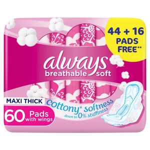 Always Cottony Soft Maxi Thick Large Sanitary Pads With Wings 60 pcs