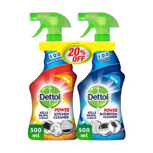 Dettol Healthy Bathroom And Kitchen Power Cleaner Trigger Spray Twin Pack 500ml+500ml