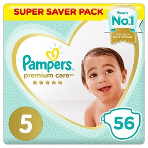 Pampers Premium Care Diapers Size 5 Junior 11-16 Kg Super Saver Pack 56 pcs