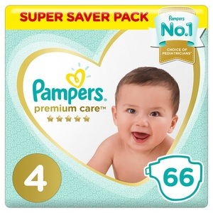 Pampers Premium Care Diapers Size 4 Maxi 9-14 Kg Super Saver Pack 66 pcs