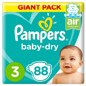 Pampers Baby-Dry Diapers Size 3 Midi 6-10Kg Giant Pack 88 pcs