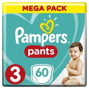 Pampers Pants Diapers Size 3 Midi 6-11 Kg Jumbo Pack 60 pcs
