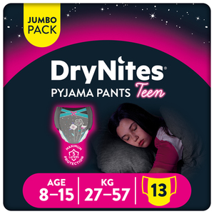 Huggies Drynites Girls Pyjama Pants Age 8-15 Years 27-57 kg 13pcs
