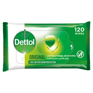 Dettol Original 2 in 1 Antibacterial Skin and Surface Wipes for 100% Better Germ Protection 120s