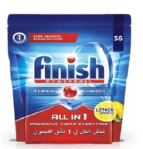 Finish Dishwasher Detergent All In One Tabs Lemon 56s