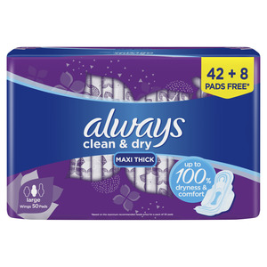 Always Clean & Dry Maxi Thick Large Sanitary Pads With Wings 50pcs