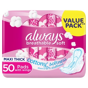 Always Breathable Soft Maxi Thick Large Sanitary Pads With Wings 50pcs