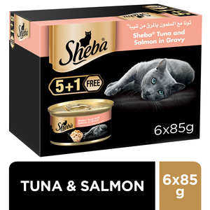 Sheba Flaked Tuna Topped with Salmon Wet Cat Food Can 6x85g