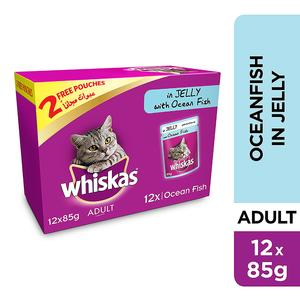 Whiskas In Jelly with Ocean Fish Wet Cat Food Pouch Multipack 12x85g