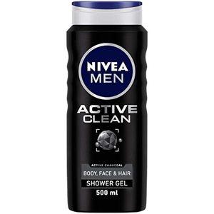 Nivea Men Active Clean Charcoal Shower Gel Woody Scent 500ml