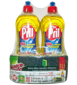 Pril Lemon Dishwashing Liquid (Free 3 Pcs Scotch Brite Scourer) 2x1L