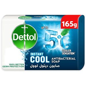 Dettol Instant Cool Antibacterial Bathing Soap Bar for 100% Better Germ Protection & Personal Hygiene with Menthol and Eucalyptus 165g