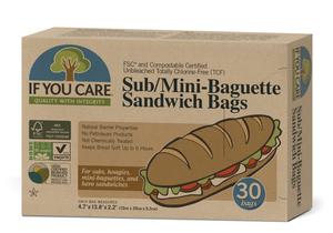 Sub/Mini Baguette Sandwich Bags  If You Care 30pcs