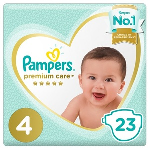 Pampers Premium Care Diapers Size 4 Maxi 9-14 Kg Mid Pack 23 pcs