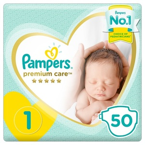 Pampers Premium Care Diapers Size 1 Newborn 2-5 Kg Mid Pack 50 pcs