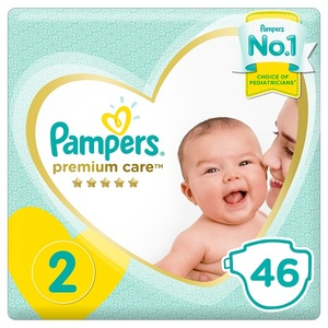 Pampers Premium Care Diapers Size 2 Mini 3-8 Kg Mid Pack 46 pcs