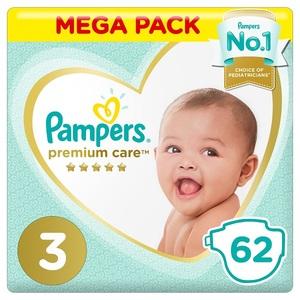 Pampers Premium Care Diapers Size 3 Midi 6-10 Kg Mega Pack 62 pcs