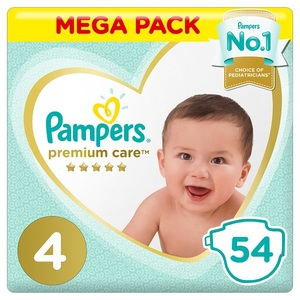 Pampers Premium Care Diapers Size 4 Maxi 9-14 Kg Mega Pack 54 pcs