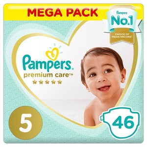 Pampers Premium Care Diapers Size 5 Junior 11-16 Kg Mega Pack 46 pcs