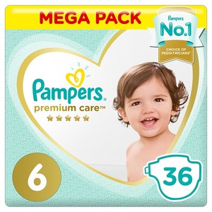 Pampers Premium Care Diapers Size 6 Extra Large 13+ Kg Mega Pack 36 pcs