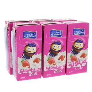Al Rawabi Strawberry Milk 6x200ml