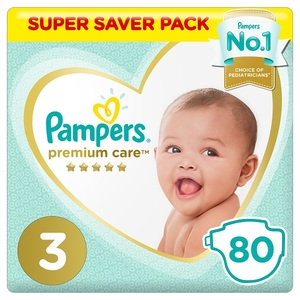 Pampers Premium Care Diapers Size 3 Midi 6-10 Kg Super Saver Pack 80 pcs