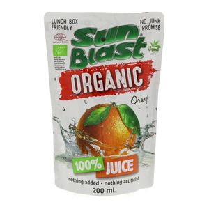 Sun Blast Organic Orange Juice No Added Sugar Preservatives Free 10x200ml